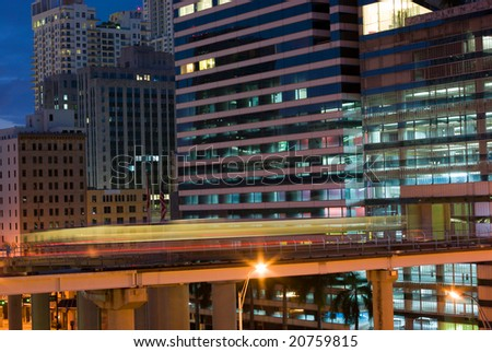 City Buildings and Mass Transit at Dawn