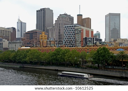 City buildings on a dull, cloudy day in Melbourne, Australia