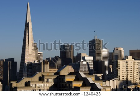 City buildings reflected in central San Francisco.
