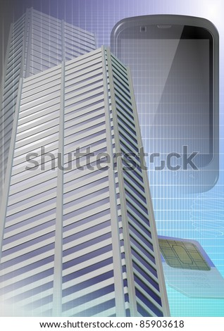 City buildings with a mobile phone and SIM card in the background / City and mobile phone
