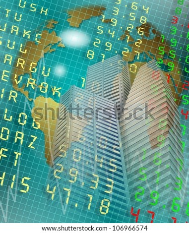 city business buildings and stock exchange board with earth globe in the background / global money market - stock photo