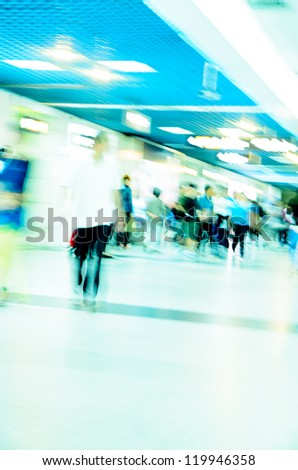 city business people abstract blur motion,  passenger walking