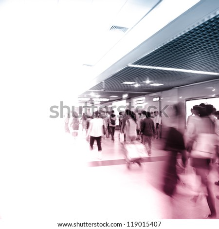 city business people crowd abstract blur motion, passenger walk at subway station