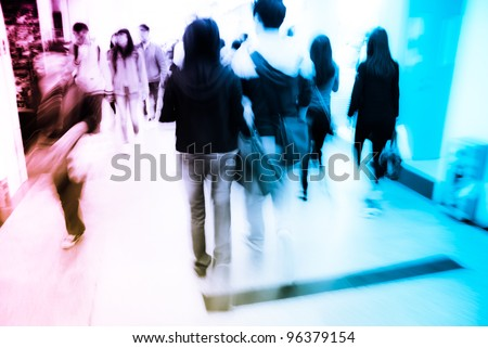 city business people crowd in marketplace abstract background