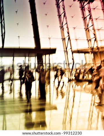 city business people crowd  indoor abstract background