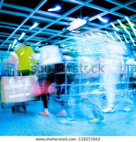 city business people life abstract blur motion,  passenger walk at subway station