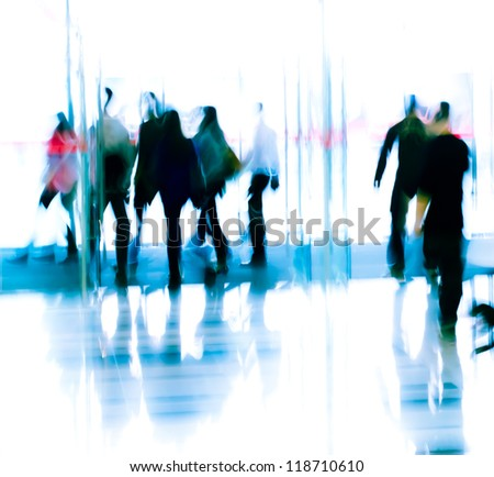 city business people moves in the office lobby, abstract blurred motion
