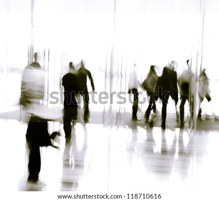 city business people moves in the office lobby, abstract blurred motion?Black and white images