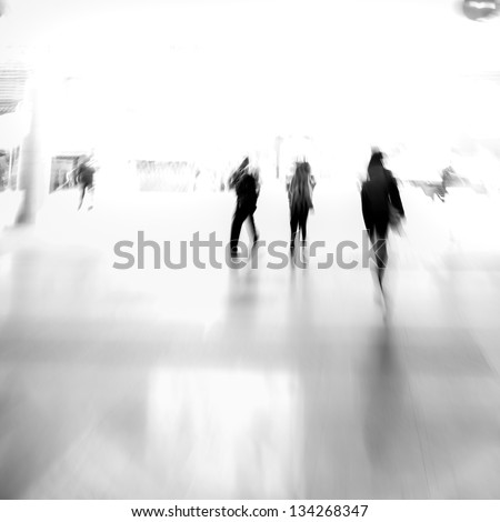 city business people urban scene abstract background, blur motion, black and white