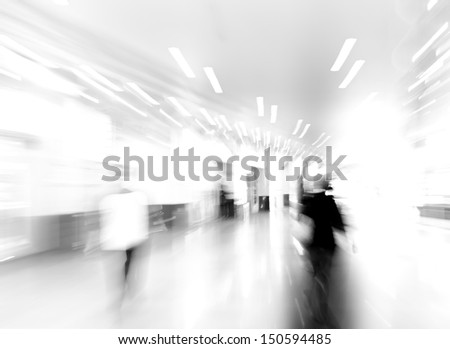 city business people walking on mall, urban scene blur abstract background, black and white