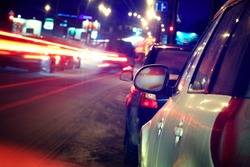 city ??car traffic jams night lights