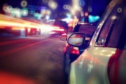 city car traffic jams night lights