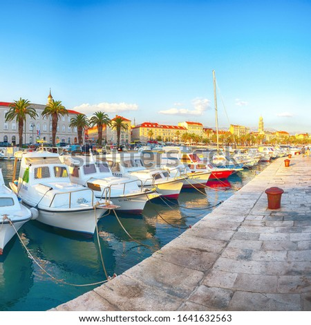 City center, cathedral tower, boats and yachts in marina of Split.  Location:  Split, Dalmatia, Croatia, Europe