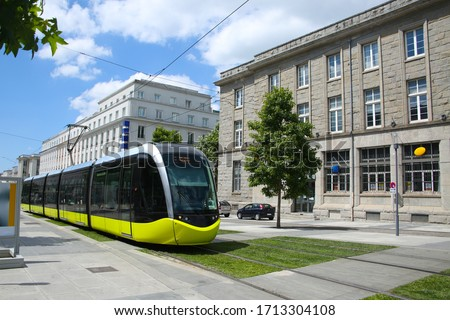 City center of Brest, showing the pedestrian shopping area & tram or train. Brest is a port city in Brittany, in northwestern France. Photo stock ©