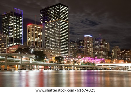 City center of Brisbane  Australia at night