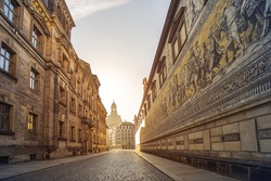 city center of Dresden, Germany, with historic buildings and the Fuerstenzug (Procession of Princes), a giant mural