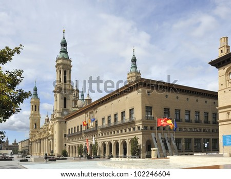 City centre of Zaragoza with the Basilica-Cathedral of Our Lady of the Pillar This basilica is supposed to be the first dedicated to Holy Mary