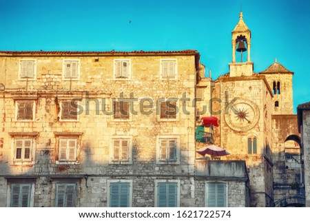 City clock on the tower on the west wall of Diocletian palace in Split. Location:  Split, Dalmatia, Croatia, Europe
