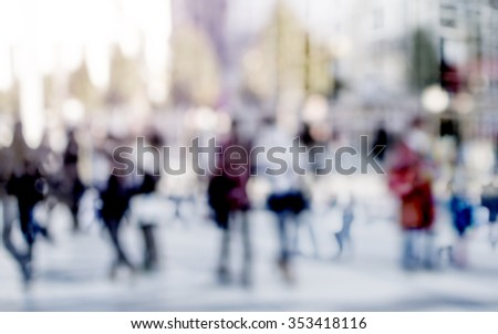 City commuters. High key blurred image of people walking in the street. Unrecognizable faces. #353418116