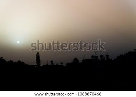 City contours at sunrise. Larnaca, Cyprus #1088870468