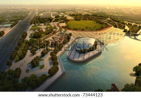 City. 3d render illustration
