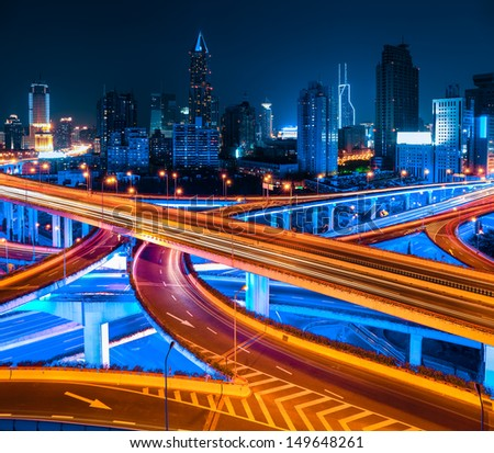 City Elevated Road At Night In Shanghai,China
