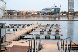 city empty marina without yachts