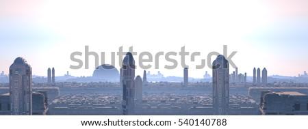 City futuristic panoramic, 3d illustration
