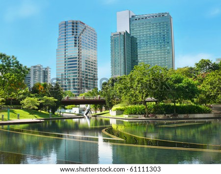 City gardens with skyscrapers