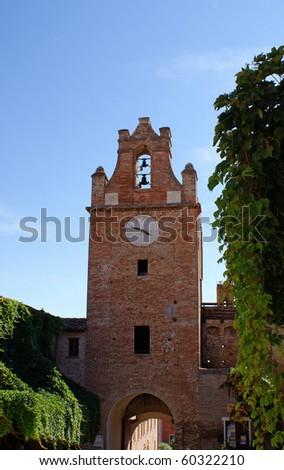 City Gate and Clock Tower, Gradara, Italy - stock photo
