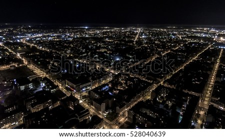 City Grid at night (Birds Eye View) #528040639