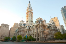 City hall and downtown Philadelphia at eary morning, Pennsylvania, United States