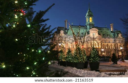 City Hall at Montreal and Christmas trees at dusk