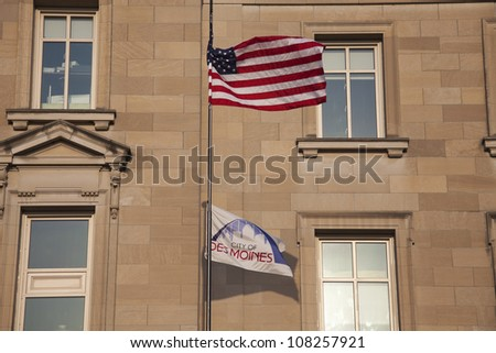 City Hall in Des Moines with US and Des Moines flags