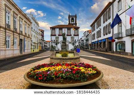 City Hall in Ponta Delgada, Azores, Portugal. Ponta Delgada City Hall with a bell tower in the capital of the Azores. Portugal, Sao Miguel. Town Hall, Ponta Delgada, Sao Miguel, Azores, Portugal