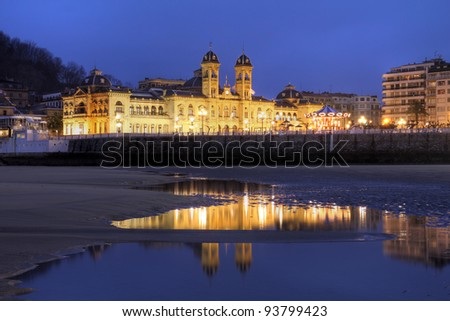 City Hall of San Sebastian (Donostia) in Spain taken from the city's famous beaches at night.