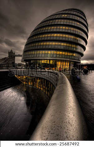 City Hall on the banks of the Thames, London UK