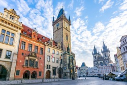 City Hall tower with Astronomical clock and Old town square, Prague, Czech Republic