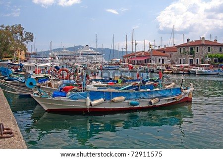 City harbor in marmaris with boats, sunny day
