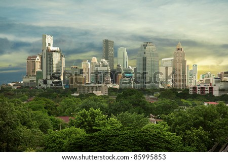 Photo of City high-rise buildings - urban landscape. Asian megalopolis - Bangkok.