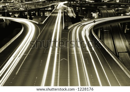 City highway at night - stock photo