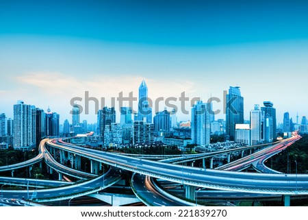 city highway overpass panoramic with shanghai skyline modern traffic background