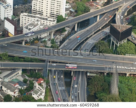 City highways,high angle view image, useful for urban living,traffic, stress or pollution related themes, Bangkok,Thailand, SE Asia