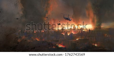 City in a tornado, doomsday scene, digital painting.
