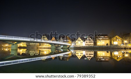 "City in south germany called ""Rottenburg am Neckar"" at night"