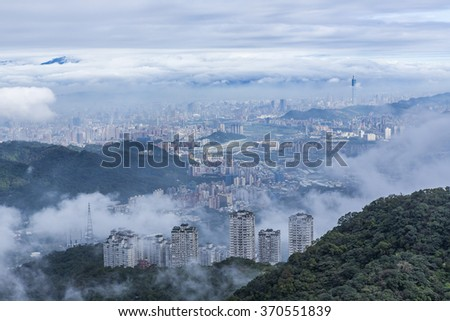 City in the fog, mysterious #370551839