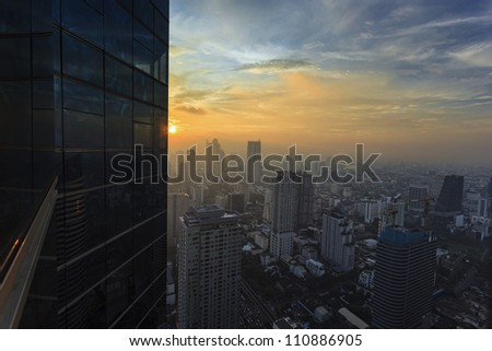 City in the middle of bangkok, sunset.