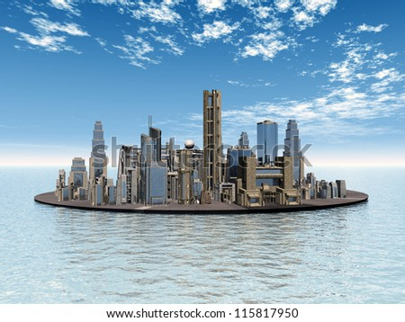 City in the Sea Computer generated 3D illustration