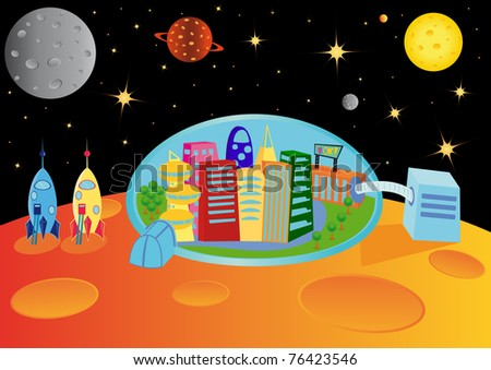 City in the universe, raster illustration