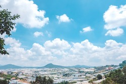 City landscape of Da Lat, Vietnam from above. The architecture of Dalat is dominated by the style of the French colonial period.
